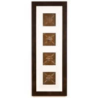 4 Panel Large Rectangle with Espresso Brown Frame