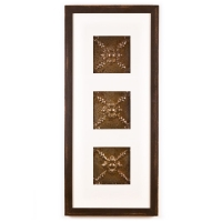 3 Panel Medium Rectangle with Distressed Brown Frame