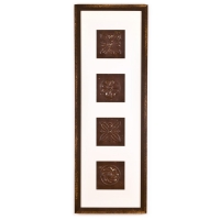 4 Panel Large Rectangle with Distressed Brown Frame