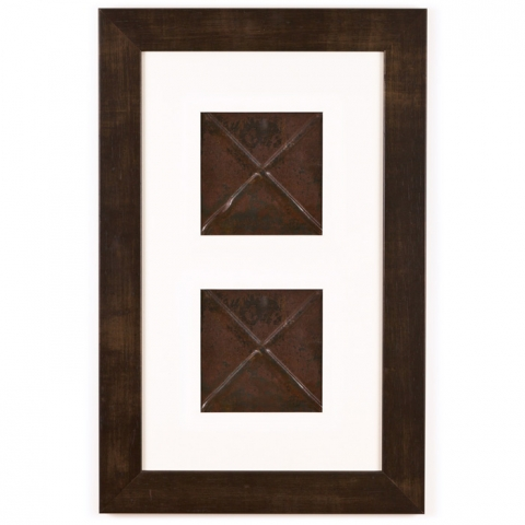 2 Panel Small Rectangle with Espresso Brown Frame