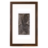 1 Panel Small Rectangle with Distressed Brown Frame