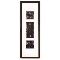 3 Panel Large Rectangle with Distressed Black Frame