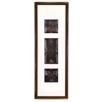 3 Panel Large Rectangle with Distressed Brown Frame