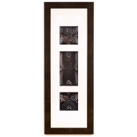 3 Panel Large Rectangle with Espresso Brown Frame
