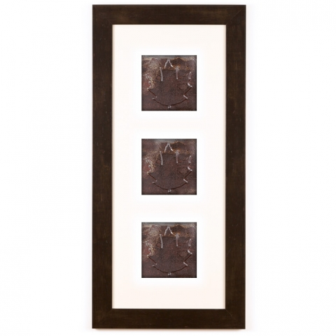 3 Panel Medium Rectangle with Espresso Brown Frame