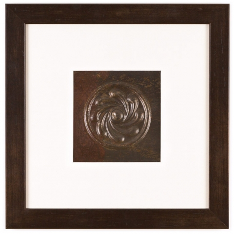 1 Panel Medium Square with Espresso Brown Frame